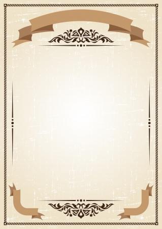 parchment texture: cornice d'epoca a sfondo grunge con ornamento retr� Vettoriali