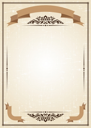 vintage frame at grunge background with retro ornament