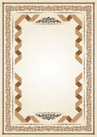 vintage frame at grunge background with retro ornament  Vector