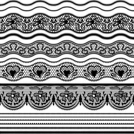 lineas horizontales: Encaje las fronteras sin costura conjunto de elementos para el dise�o