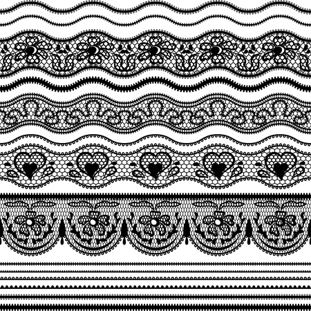 Lace seamless borders  set of elements for design  Stock Vector - 15690712