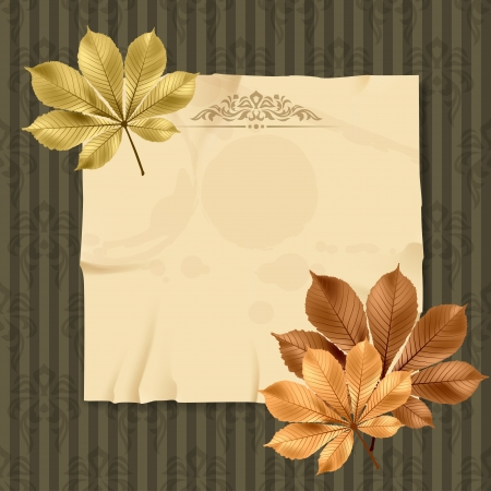 notebook paper background: Vintage and retro old paper card with leaves  Illustration