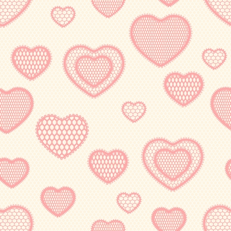 Old lace background, seamless pattern with hearts  Vector