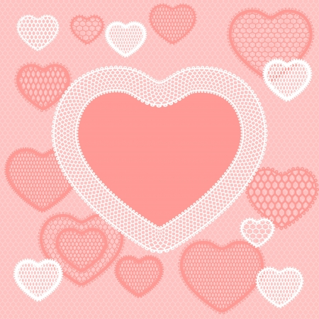 Old lace background, pink card with hearts  Vector