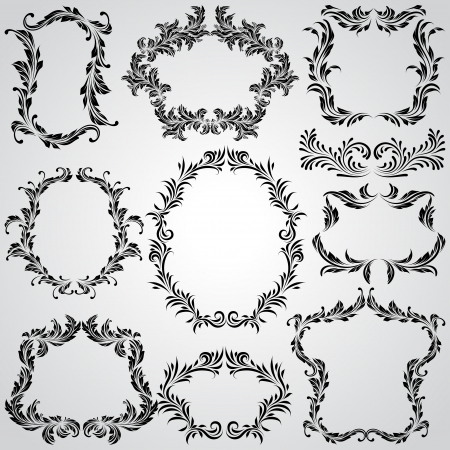 gothic revival style: Calligraphic design elements and page decoration vintage frames Illustration