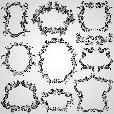Kalligrafische ontwerpelementen en pagina decoratie vintage frames Stock Illustratie