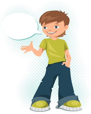 cool kids: Young teen boy says something  illustration  Illustration