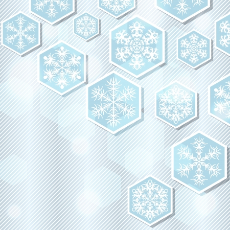 Christmas winter background with snowflake  illustration Stock Vector - 15759854