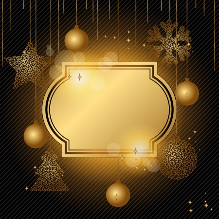 Elegant Christmas background with gold evening balls  Stock Vector - 15934835