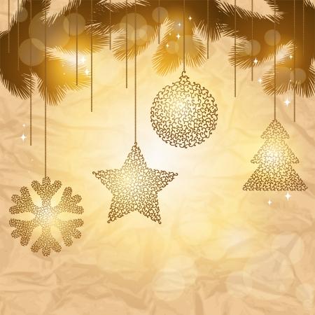 elegant christmas: Elegant Christmas background with gold evening balls