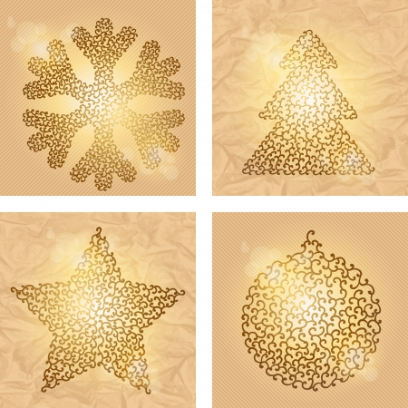 Set of 4 Christmas winter backgrounds  Vector illustration Stock Vector - 15934834