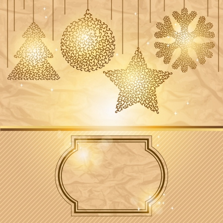 Elegant Christmas background with gold evening balls  Stock Vector - 15934840