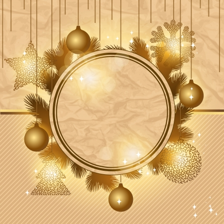 Elegant Christmas background with gold evening balls  Vector