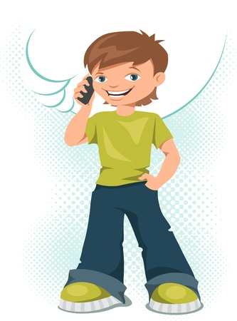 famous people: Young teen boy talking on his mobile phone  Illustration