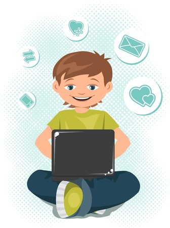 teen boys: Young teen boy working on a laptop  Illustration