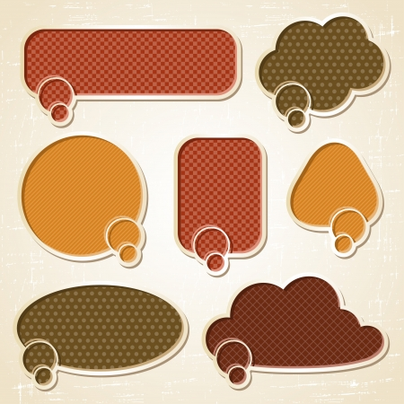 Textured speech bubbles and stickers set in retro style Stock Vector - 15934892