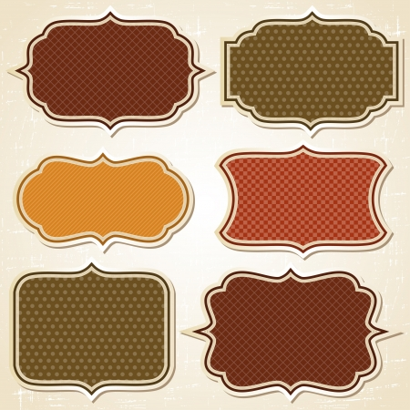 vintage: Textured labels and stickers set in retro style  Illustration