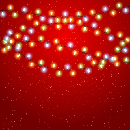 Christmas background with luminous garland  Ilustrace