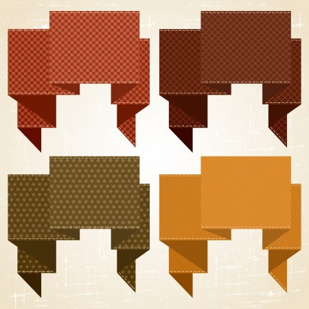 Textured speech bubbles and stickers set in retro style  Vector