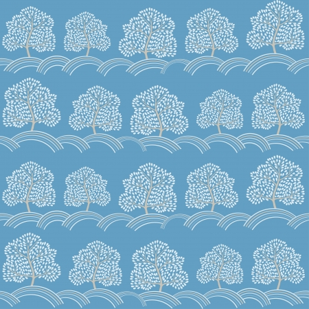 Winter trees seamless pattern  Abstract season background   Vector
