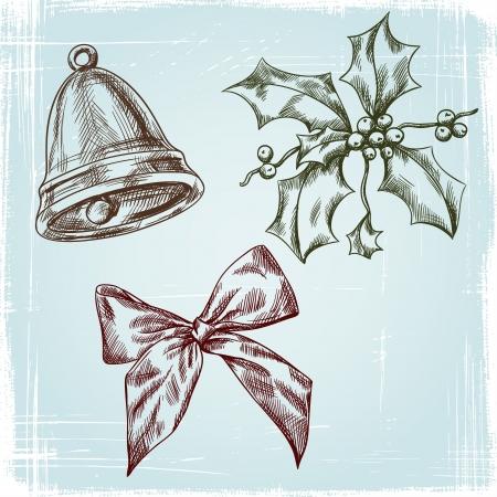 Christmas and New year holidays hand drawn set Stock Vector - 16063089