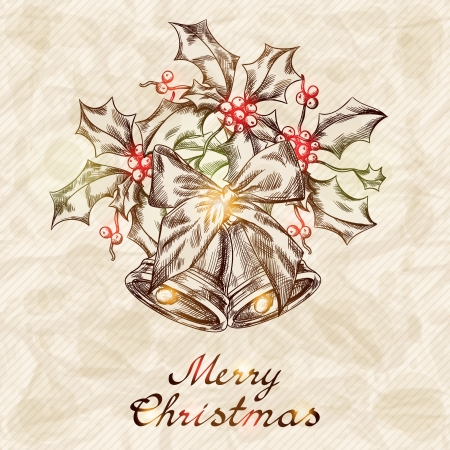 Christmas and New year holidays hand drawn card  Vector