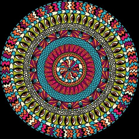 persia: Colorful ethnicity round ornament, mosaic background  Illustration
