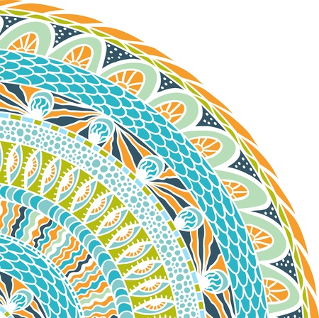 mexican folklore: Colorful ethnicity round ornament, mosaic background  Illustration