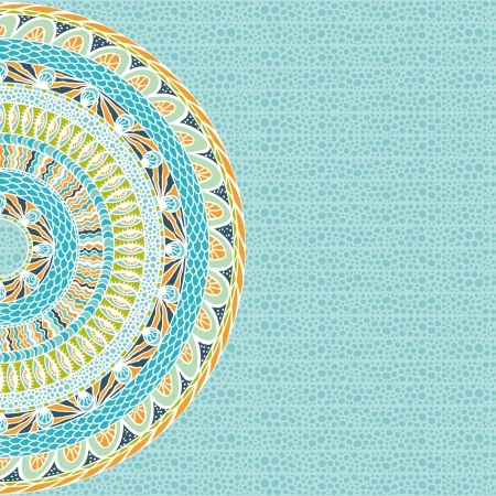 antiquities: Colorful ethnicity round ornament, mosaic background  Illustration