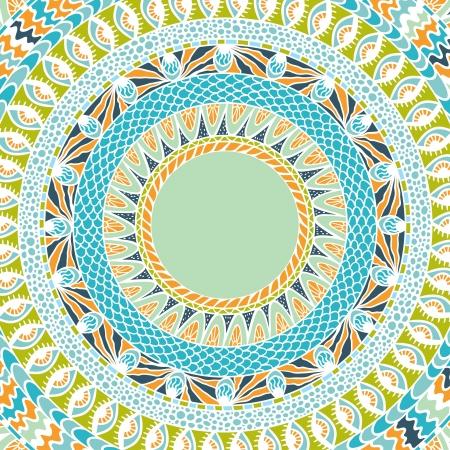 arabic motif: Colorful ethnicity round ornament, mosaic background  Illustration