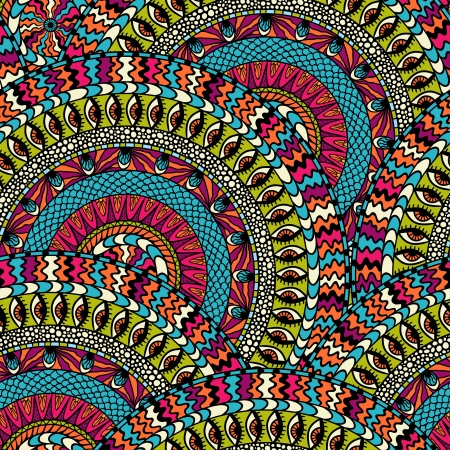 mexican folklore: Colorful ethnicity round ornament,  seamless pattern