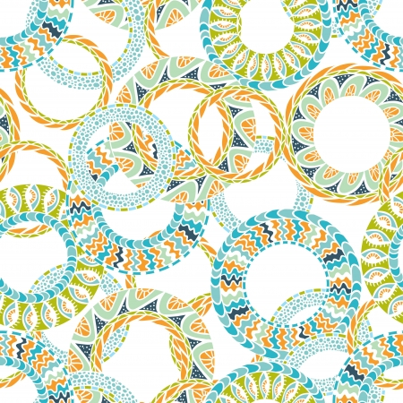 textiles: Colorful ethnicity round ornament,  seamless pattern