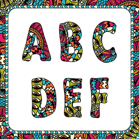 mexican folklore: A, B, C, D, E, F  Letters of alphabet with ethnic motifs