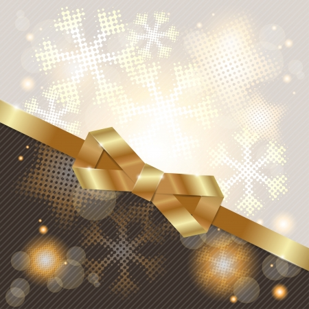 Elegant Christmas background with shiny gold bow Stock Vector - 16437660