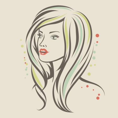 Fashion girl portrait  Beautiful woman with long hair  Vector