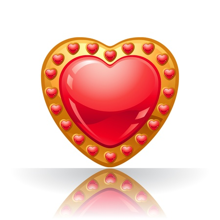 rich couple: Glossy big red jewelry heart illustration