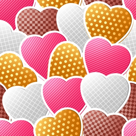 Valentine seamless pattern of heart stickers  Vector