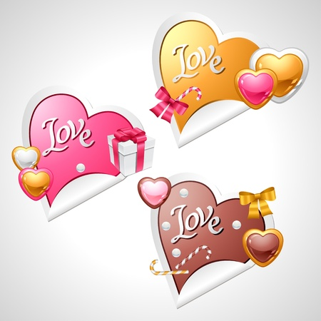 Valentine s Day stickers  Origami speech bubble  Vector