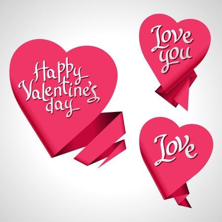 valentine s day: Valentine s Day background  Origami speech bubble