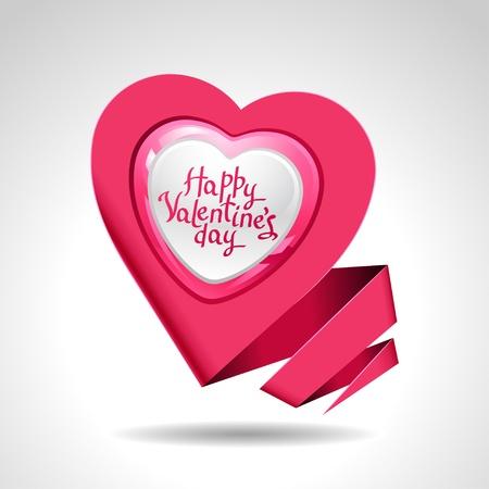 glitter heart: Valentine s Day background  Origami speech bubble