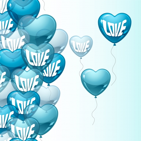 Background with flying balloons in the shape of a heart  Vector