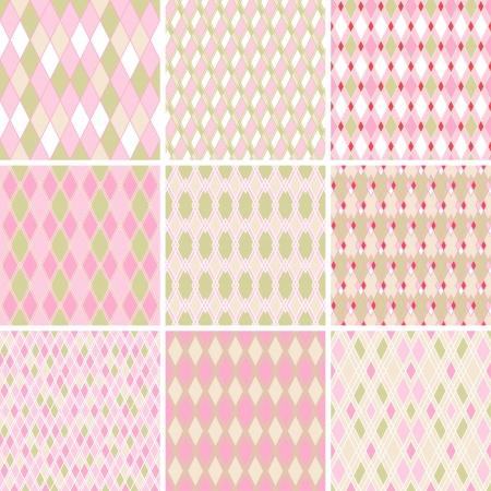 harlekijn: Naadloze abstracte retro patroon Set van 9 geometrische textuur Stock Illustratie