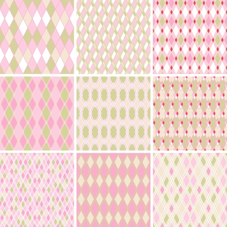 harlequin: Seamless abstract retro pattern  Set of 9 geometric texture  Illustration