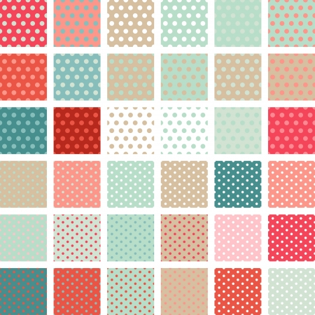 Seamless abstract retro pattern  Set of 36 polka dots textures  Vector