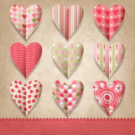 papel scrapbook: Chatarra plantilla de dise�o de �poca con corazones Vectores