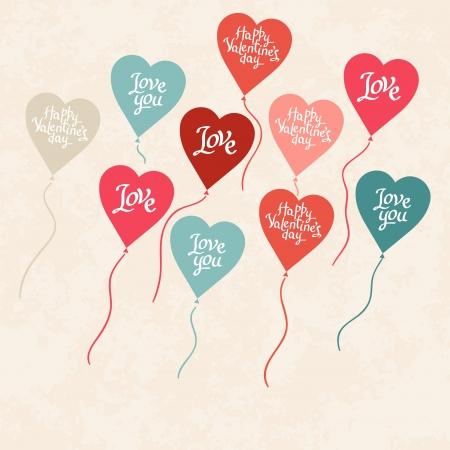 ferraille: Arri�re-plan avec des ballons en forme de coeur