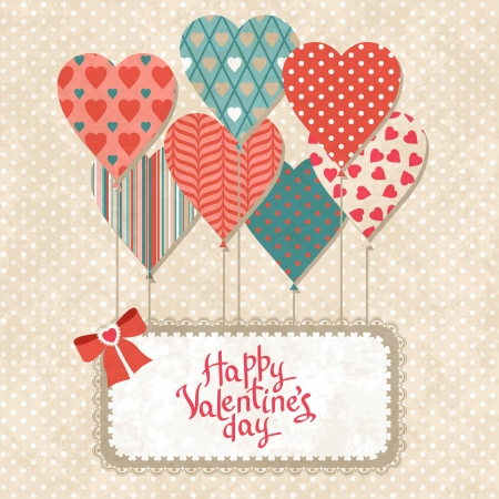 love card: Background with balloons in the shape of heart and note paper
