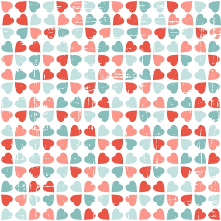 torn heart: seamless pattern of Valentine s Day in retro style  Illustration