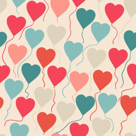 flying balloon: Seamless pattern with flying balloons in the shape of a heart