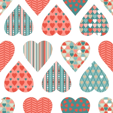 seamless pattern of Valentine s Day in retro style  Ilustrace